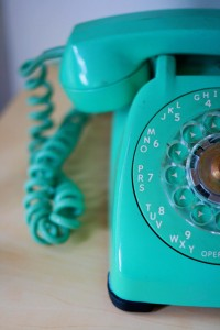teal old fashioned telephone