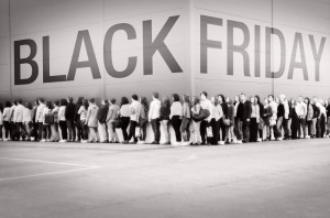 black friday sales shoppers standing in line for retail deals