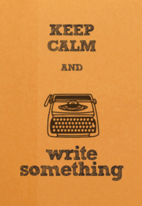 typewriter meme keep calm and write something