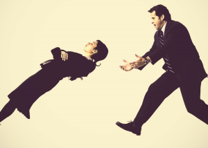 trust fall activity with men in suits